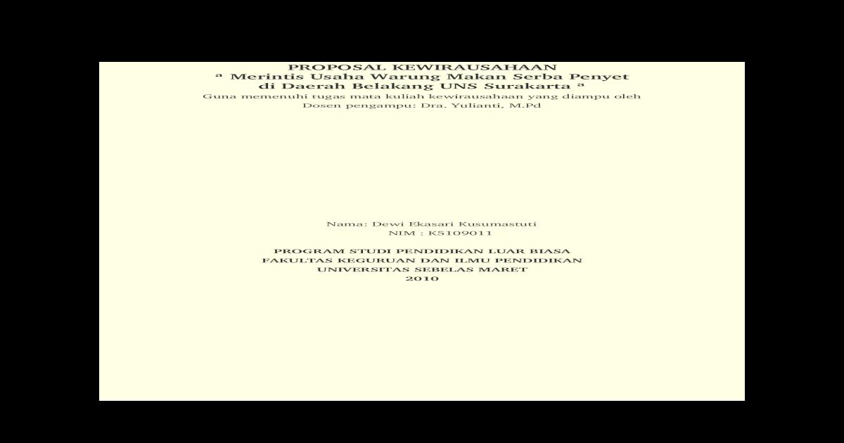 Proposal Kewirausahaan Penyetan