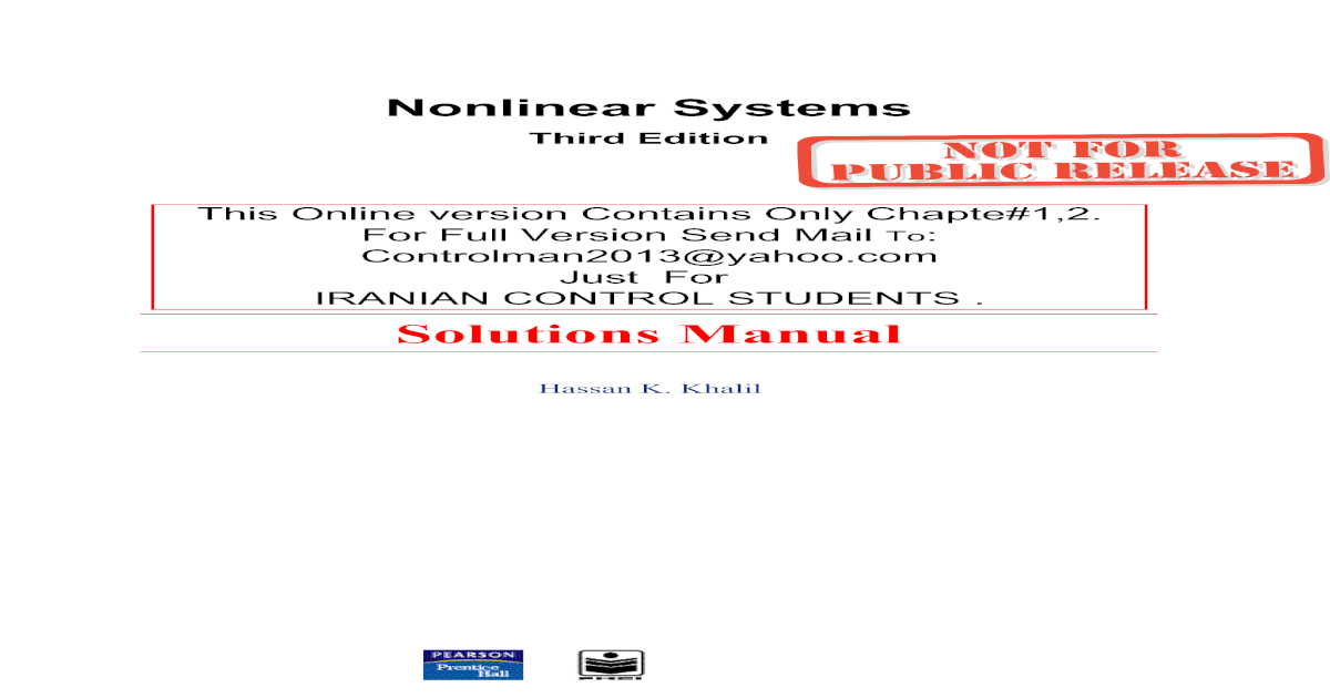 Systems pdf nonlinear khalil