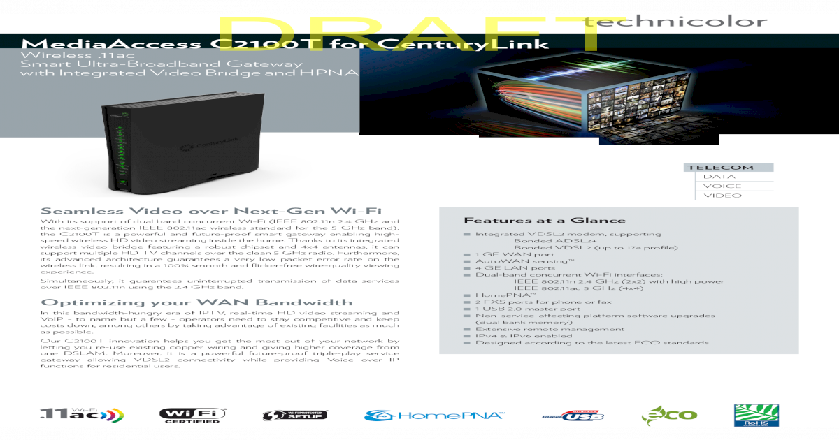 Technicolor C2100T Manual