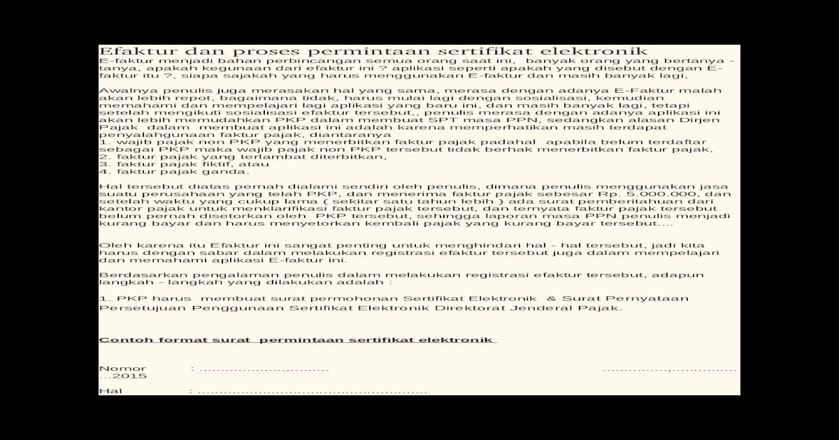 Efaktur Dan Proses Permintaan Sertifikat Elektronik Doc