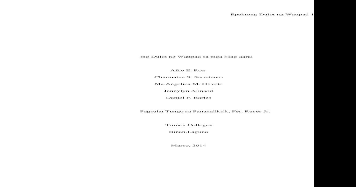 thesis tungkol sa epekto ng wattpad