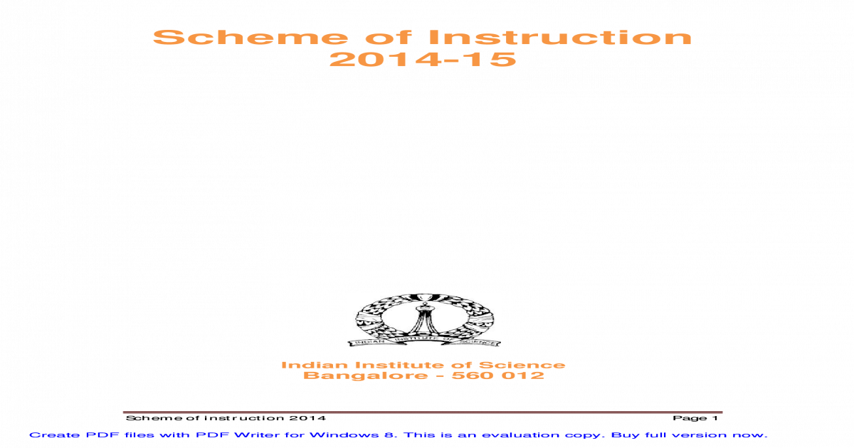 Scheme of instruction iisc fandeluxe Image collections