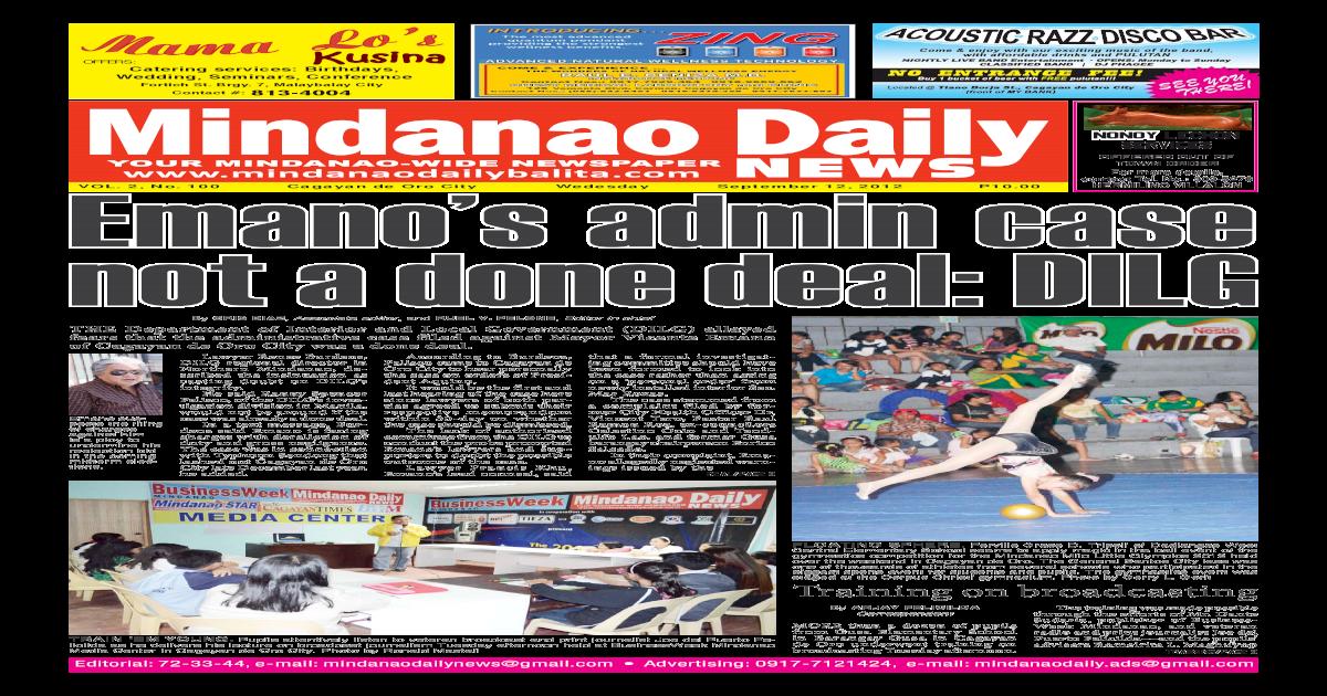 MINDANAO DAILY NEWS SEPTEMBER 12,2012