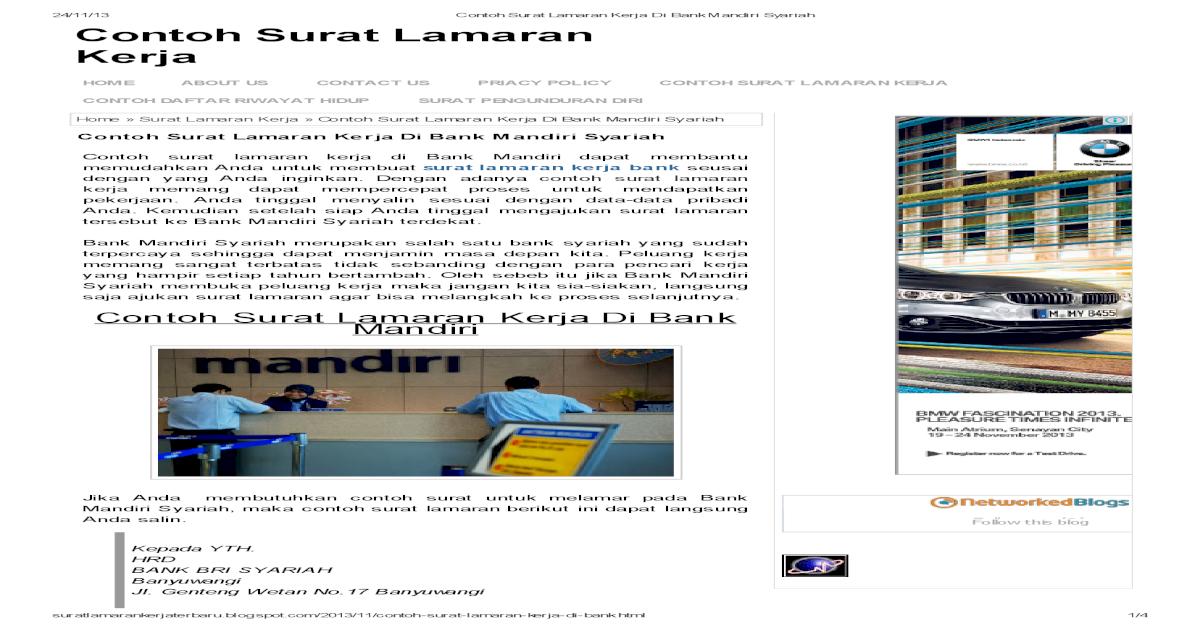 Contoh Surat Lamaran Kerja Di Bank Mandiri Syariah