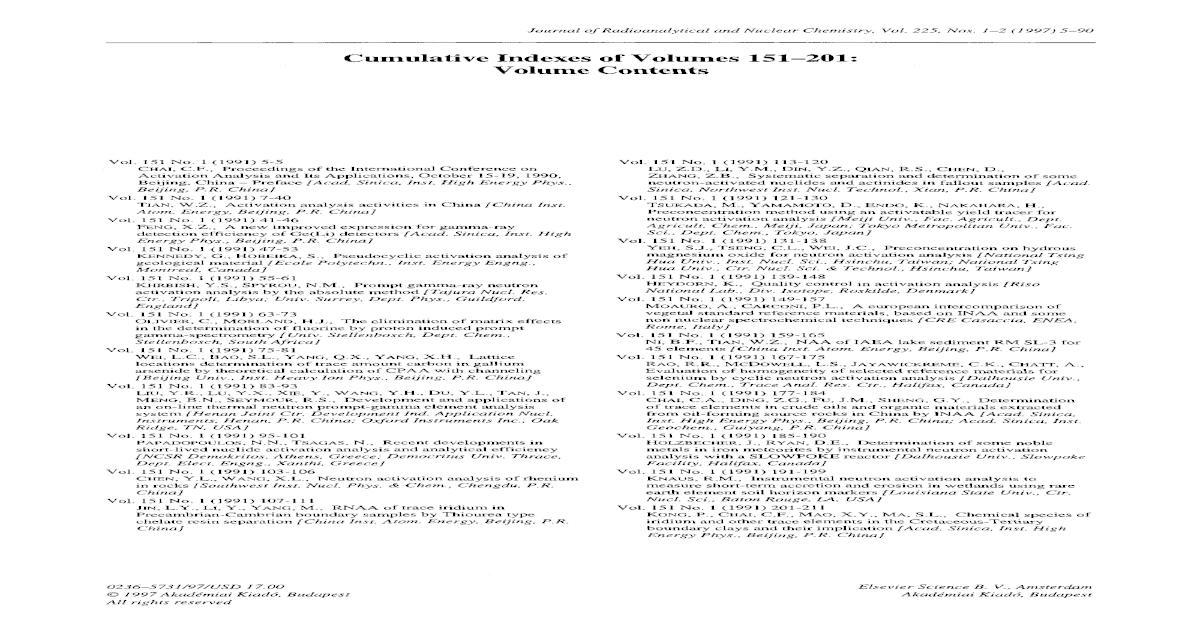 Cumulative indexes of volumes 151201: Volume contents