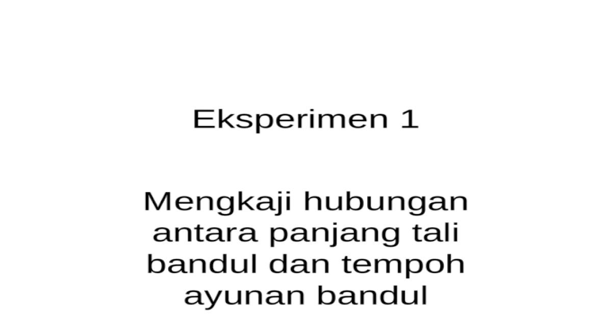 Eksperimen 1 Bandul