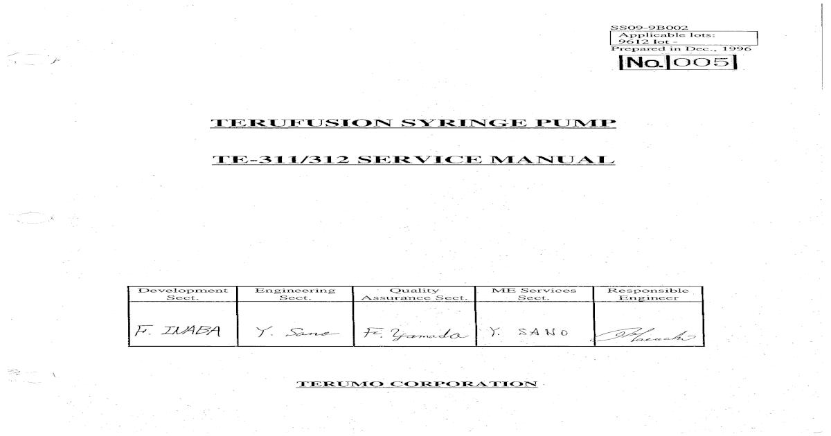 Terumo te311 2 syringe pump service manual fandeluxe Images
