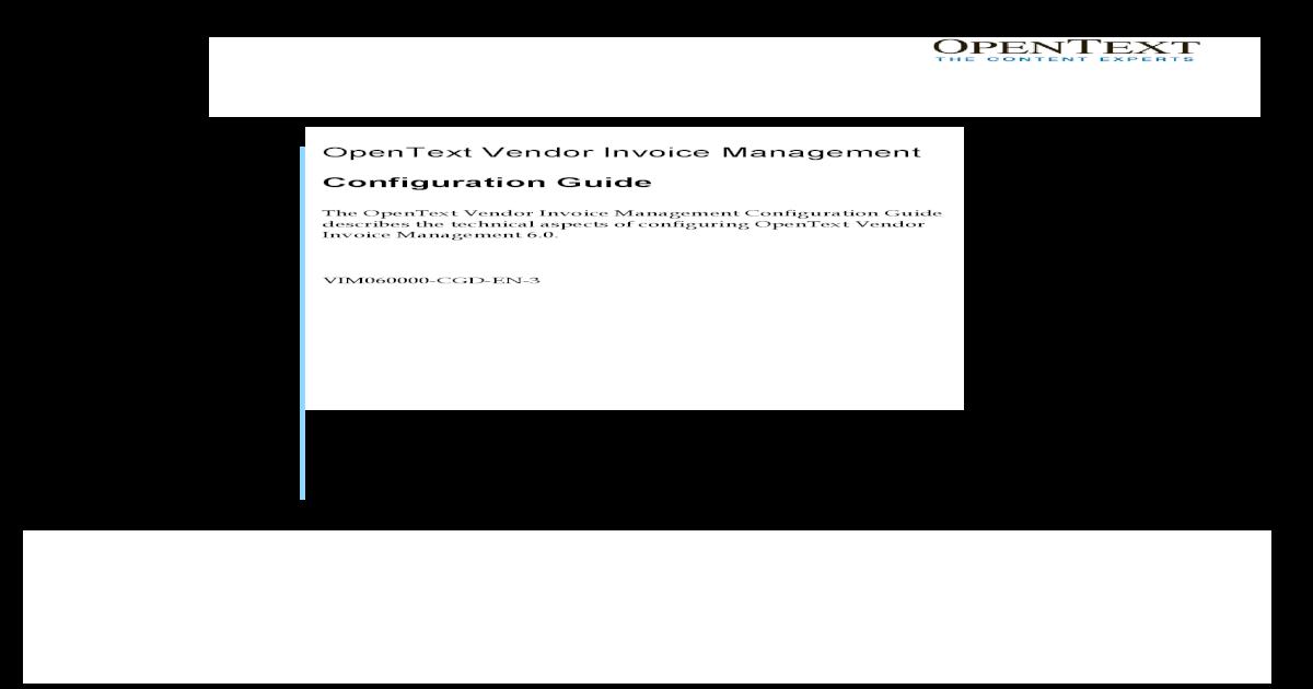 Vendor Invoice Management OPENTEXT SAP VIM - Open text invoice management