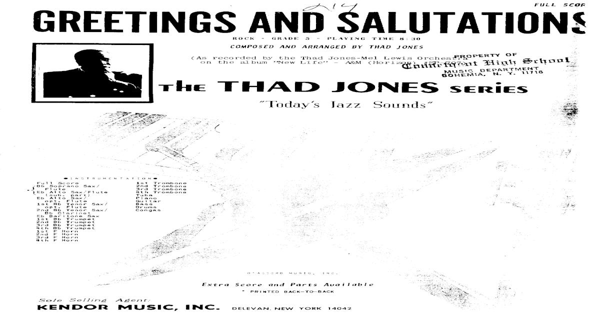 115193930 thad jones big band score greetings and salutations m4hsunfo