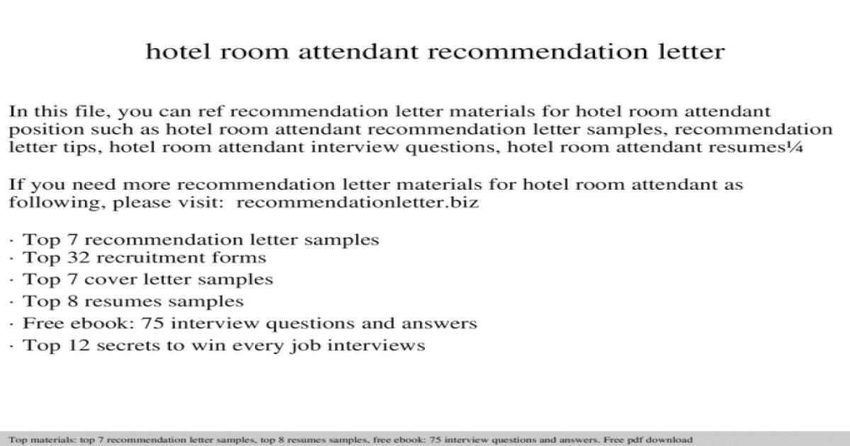 Hotel room attendant recommendation letter