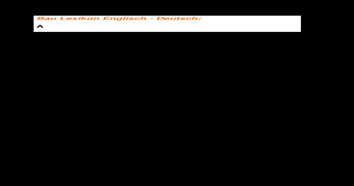 Baulexikon Englisch Deutsch