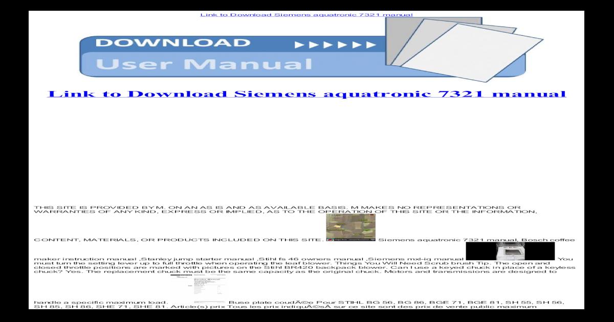 siemens aquatronic 7321 manual