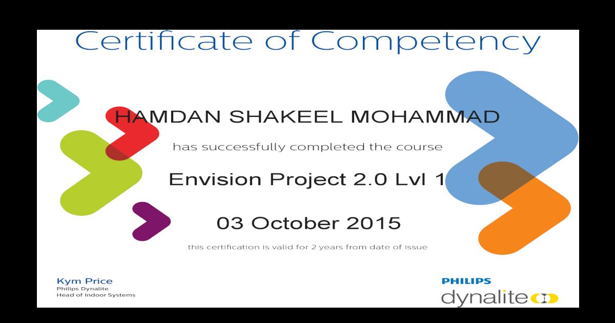 Envision Project 20 Level 1 Certifiacte