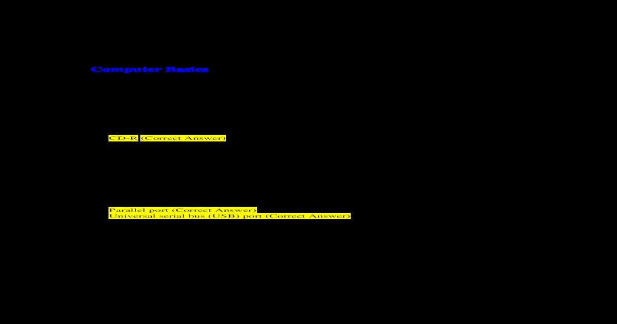 Microsoft Digital Literacy Certificate Test Item File Answer Key