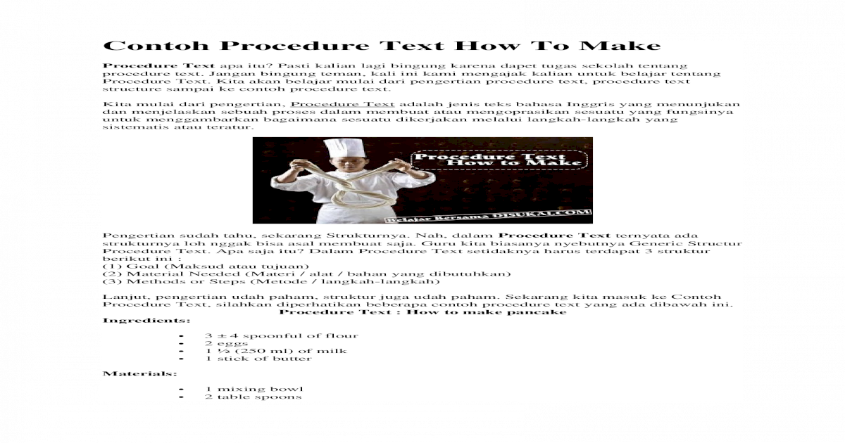 Contoh Procedure Text How To Make