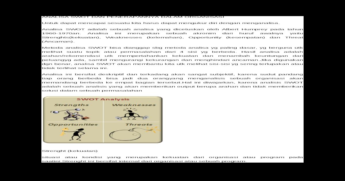 Analisa Swot Dan Penerapannya Dalam Organisasi