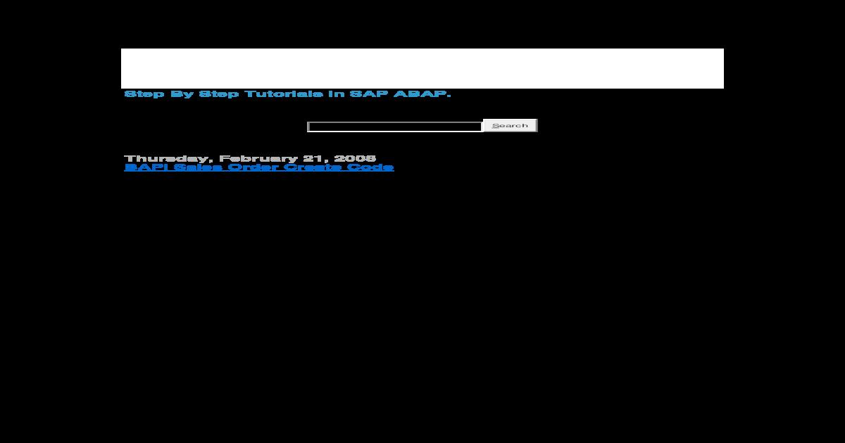 Step by Step Tutorials in Bapi-SAP ABAP