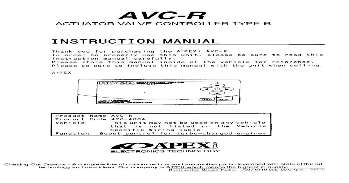 Apexi Installation Manual: AVC-R Actuator Valve Control Type-R