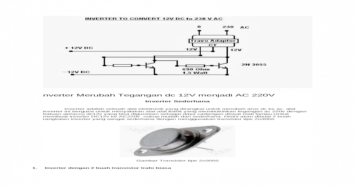 Inverter Merubah Tegangan Dc 12v Menjadi Ac 220v