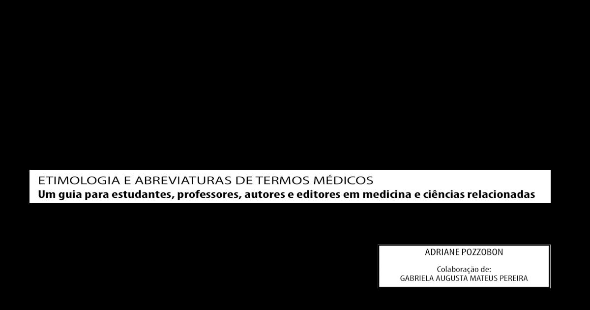 9a7dc949b4b0c Etimologia e Abreviatura de Termos Medicos