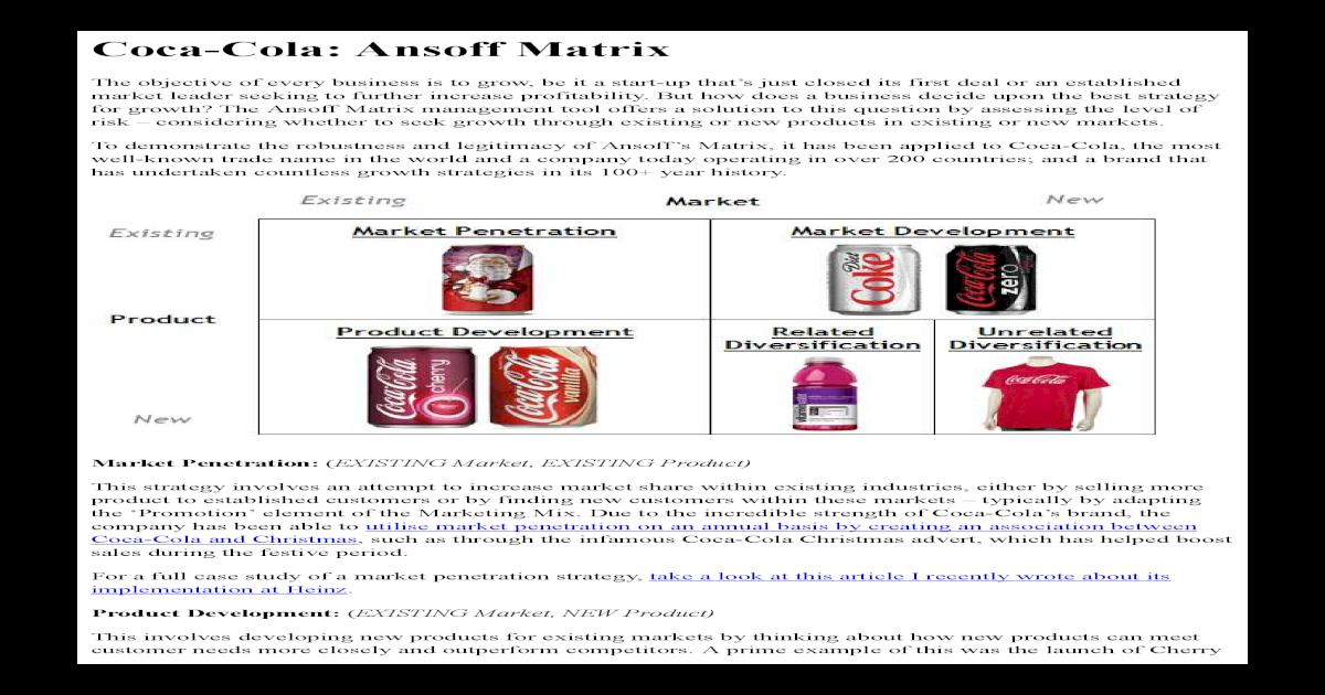 coca cola market development strategy
