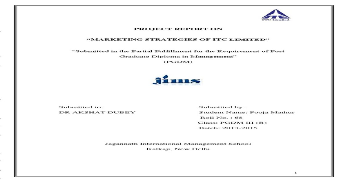 project report on marketing strategy of itc