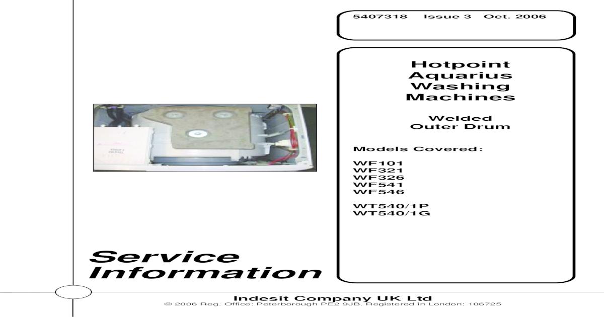 Hotpoint Wf101 Service Manual