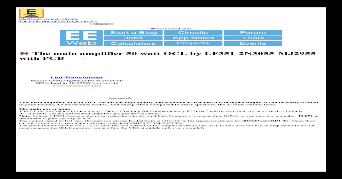 the main amplifier 50 watt ocl by lf351 2n3055 mj2955 with pcb _the main amplifier 50 watt ocl by lf351 2n3055 mj2955 with pcb _ electronic circuits \u0026 mini projecs pdf