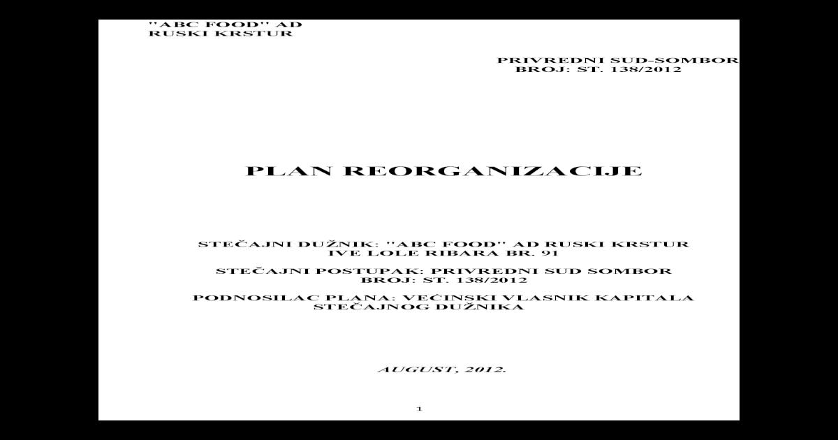 Plan Reorganicaziji ABC Food