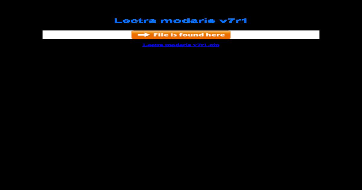 lectra modaris v6r1