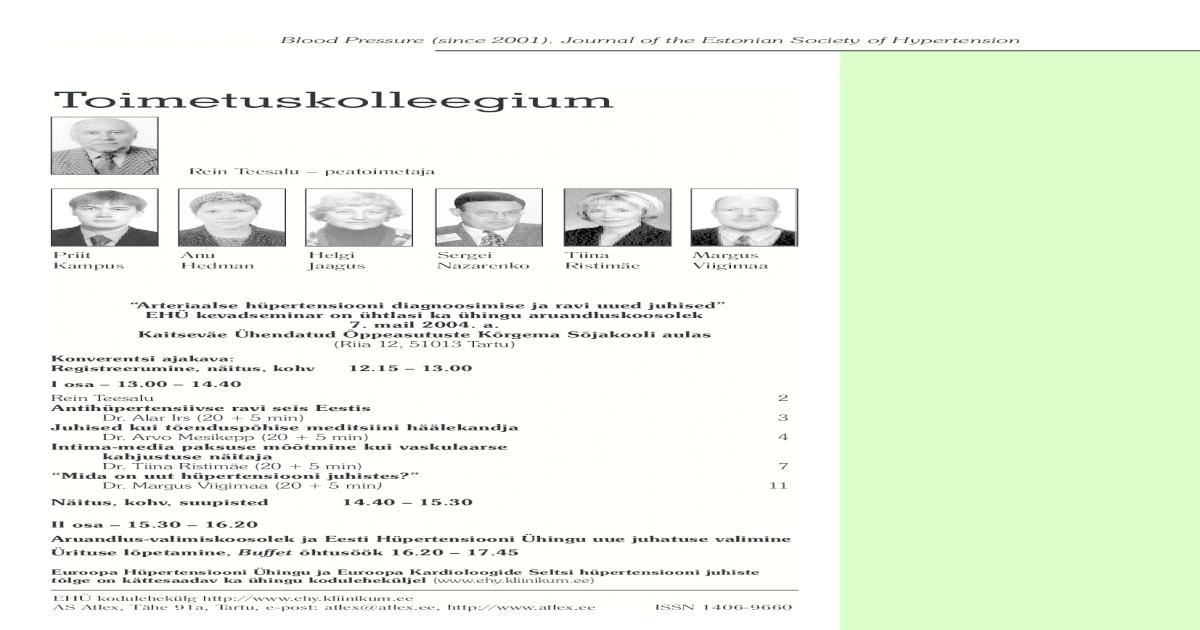 7ff5fdaa7fa Arteriaalse hpertensiooni diagnoosimise ja ravi uued juhised 2004
