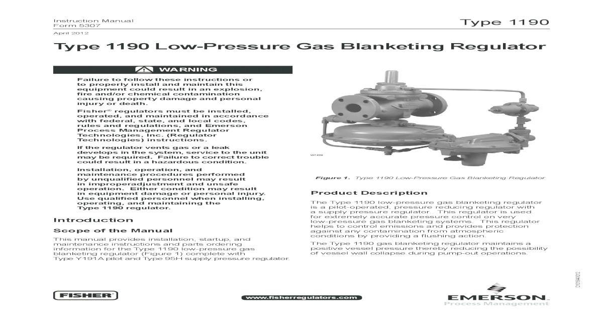 Fisher 1190 Low-Pressure Gas Blanketing Regulator