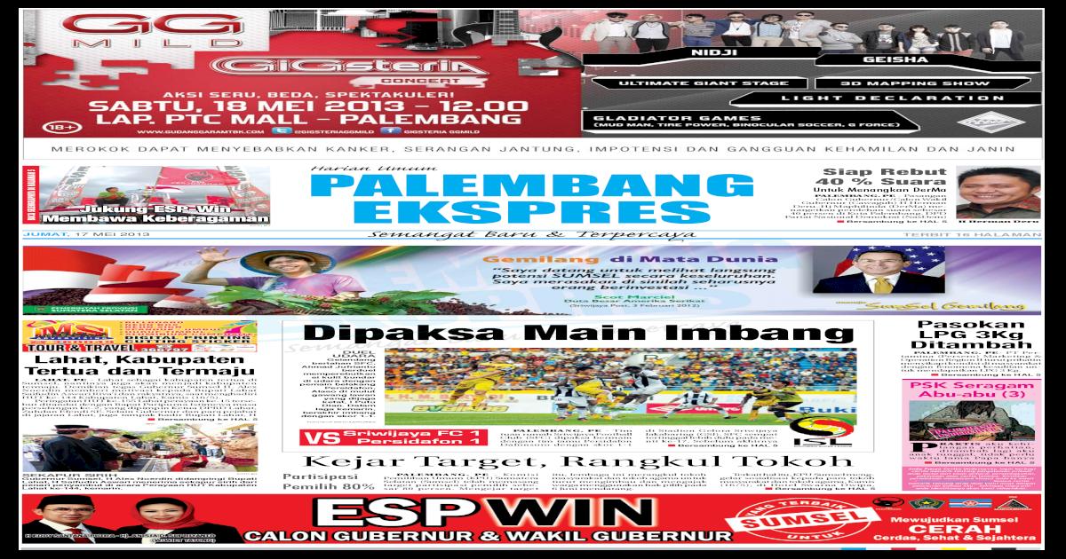 Palembang Ekspres Jumat, 17 Mei 2013
