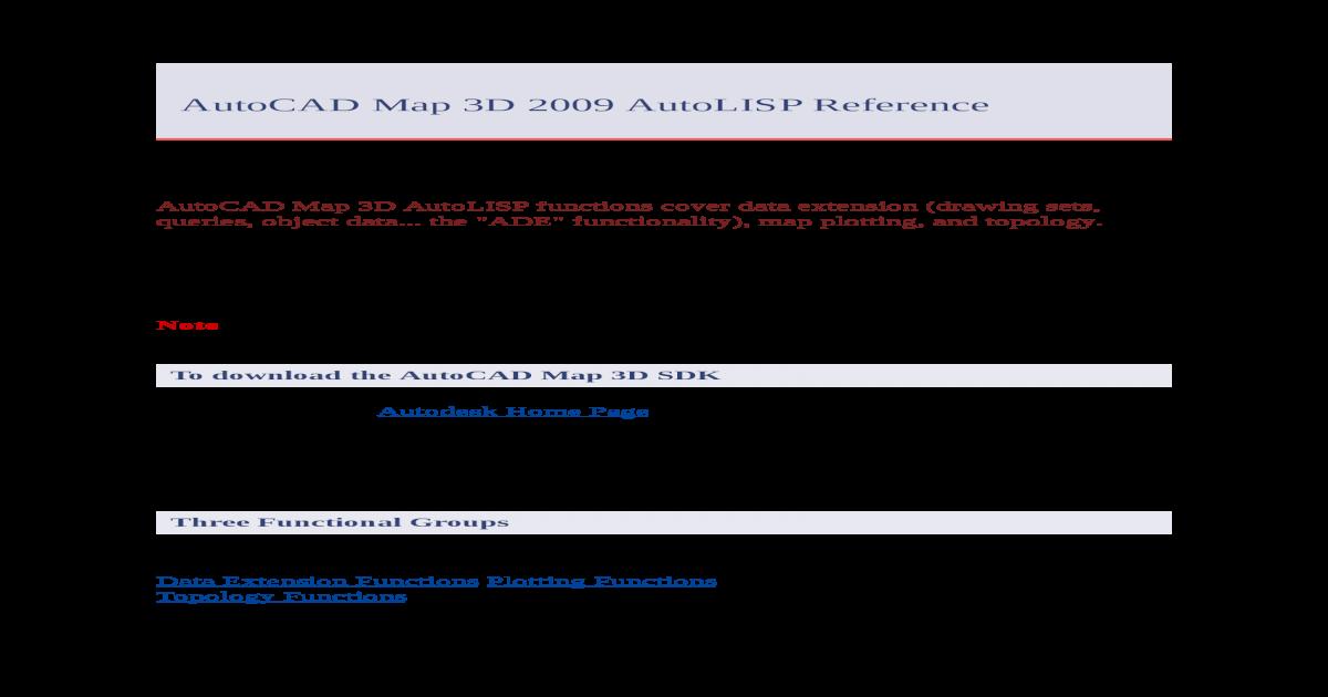 AutoCAD Map 3D 2009 AutoLISP Reference - Map 3D 2009