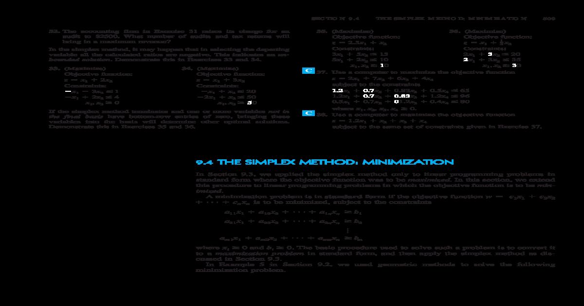 9 4 THE SIMPLEX METHOD: MINIMIZATION