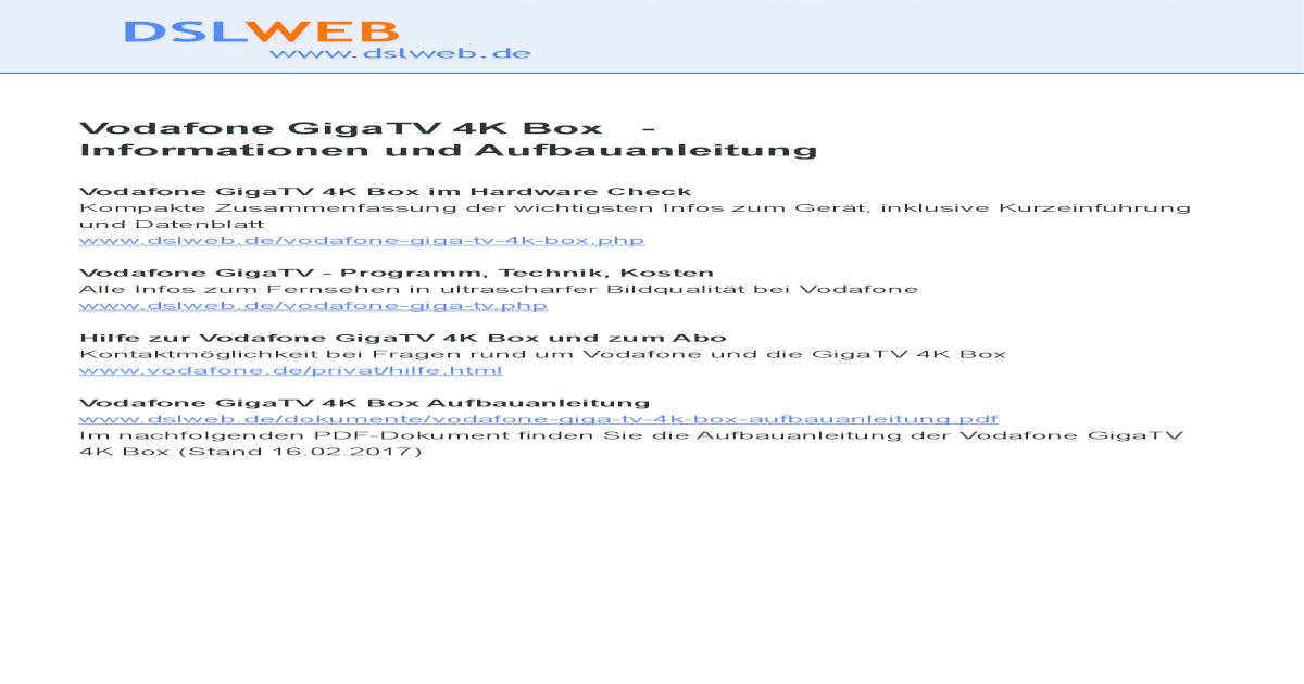 vodafone gigatv 4k box fernbedienung pdf