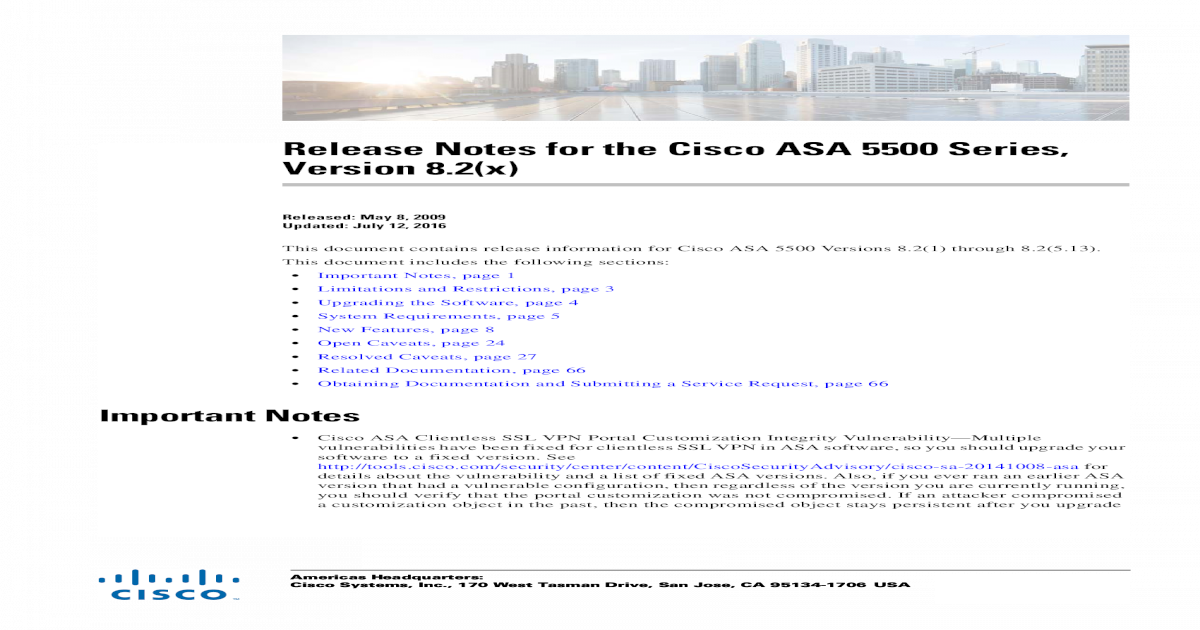 Release Notes for the Cisco ASA 5500 Series, 8 2(x)