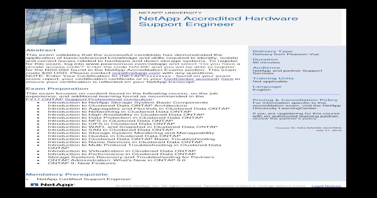 Netapp University Netapp Accredited Hardware Support Engineer This