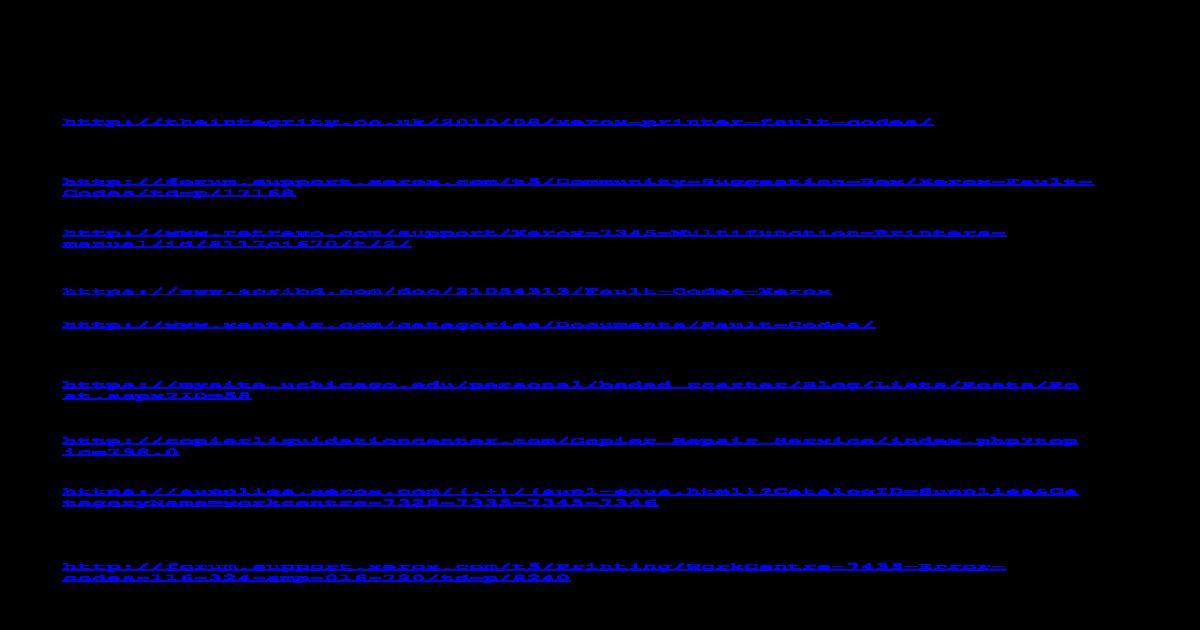 Xerox Fault Codes