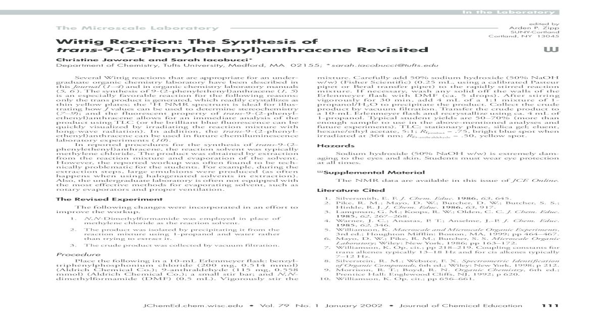 Wittig Reaction The Synthesis Of Trans 9 2 Phenylethenylanthracene Revisited
