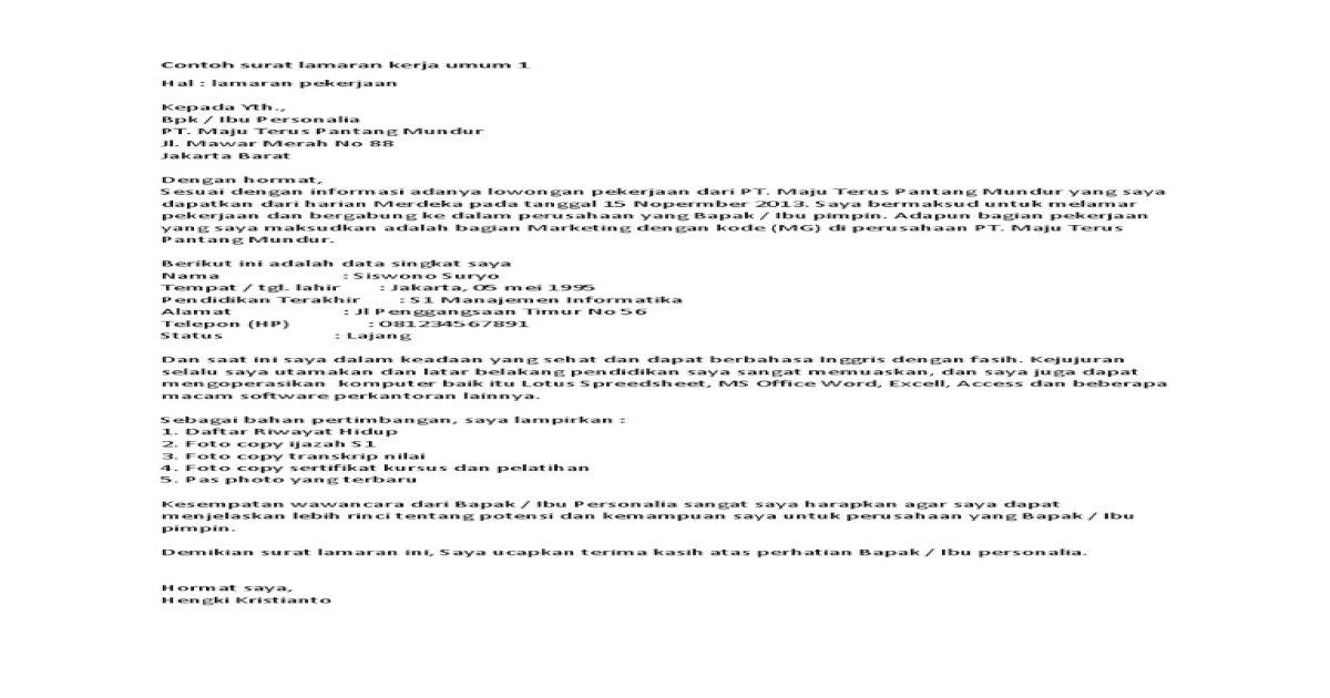 Contoh Surat Lamaran Kerja Umum 1 Docx