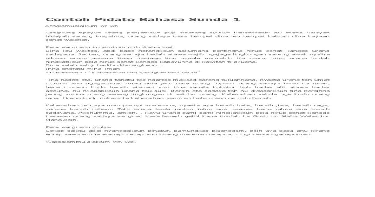Contoh Pidato Bahasa Sunda 1
