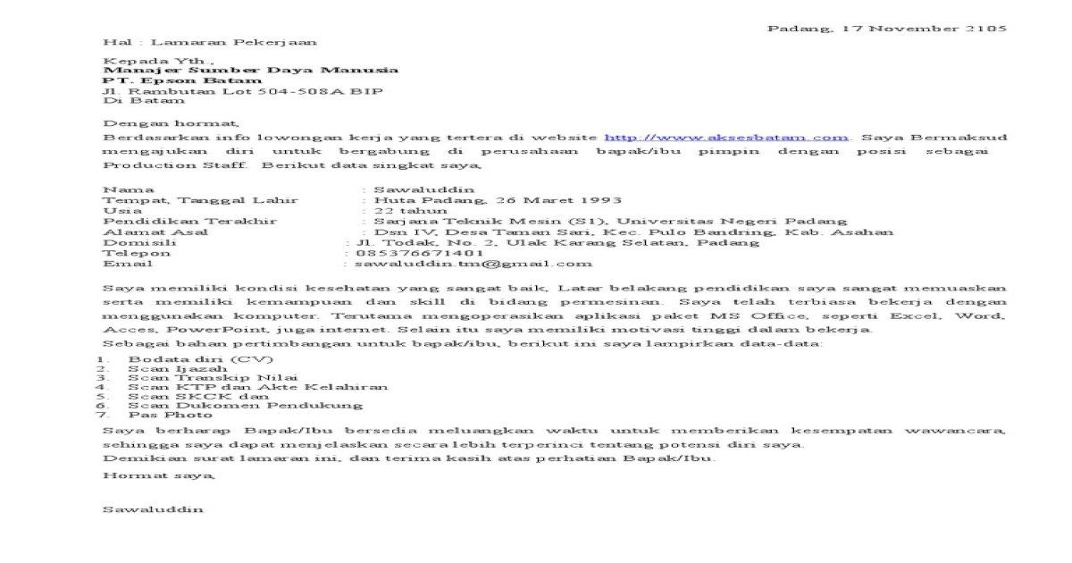 Contoh Surat Lamaran Kerja Di Pt Epson Batam