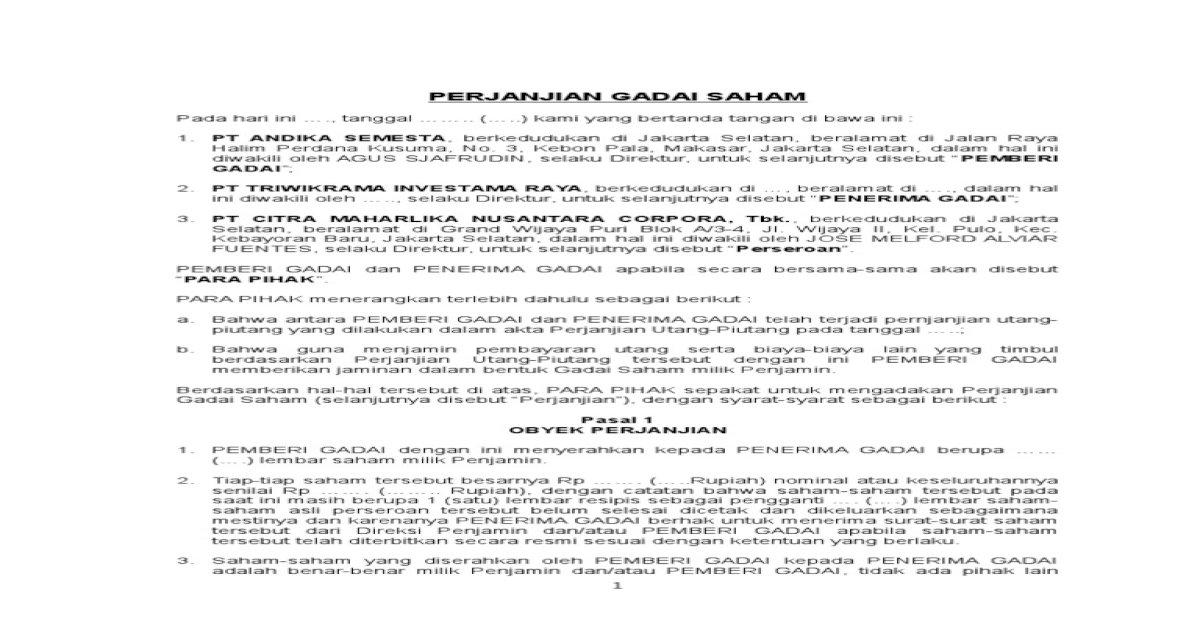 Contoh Surat Pernyataan Gadai Simak Gambar Berikut