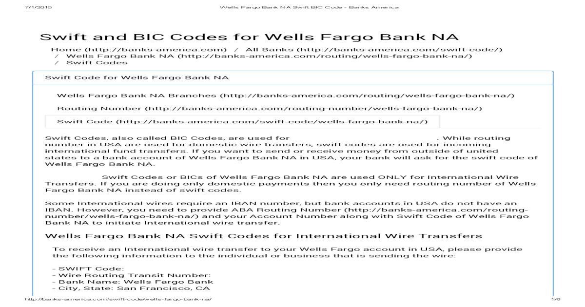 Wells Fargo Bank Na Swift Bic Code Banks America