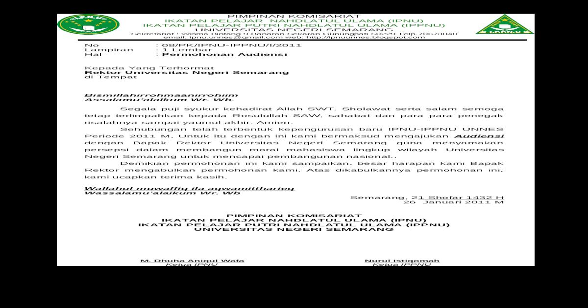 contoh surat audiensi ke rektor suratmenyurat net