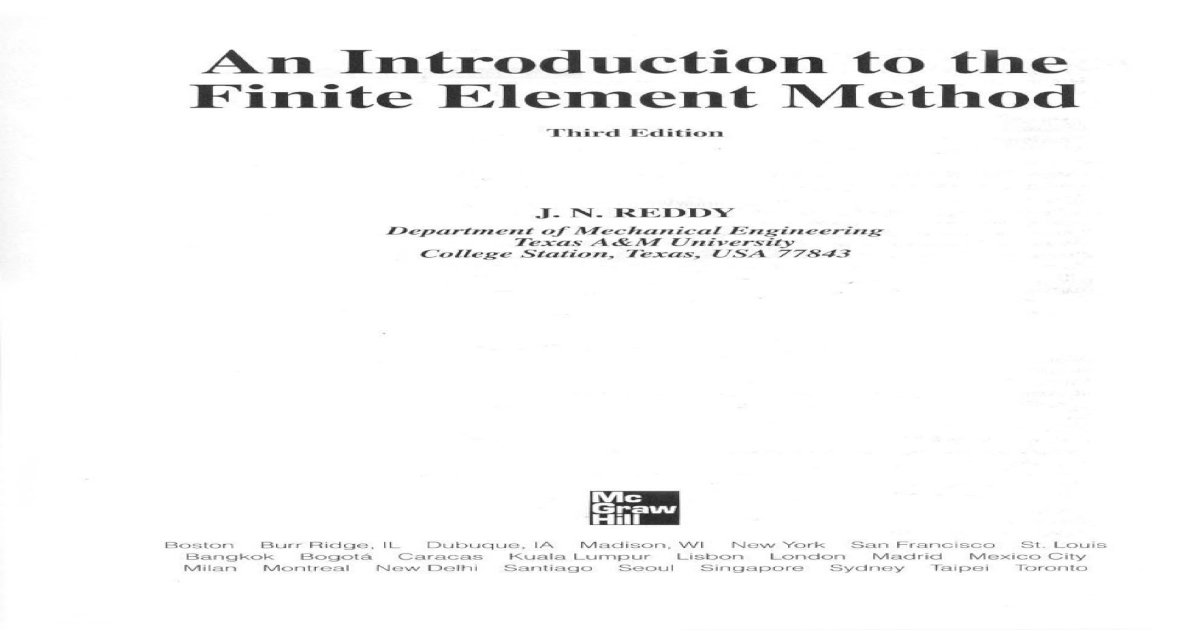 Finite Element Method J N Reddy Pdf