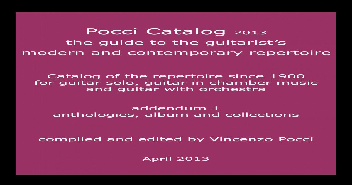 Pocci Catalog - April 2013 - Addendum 1 Anthologies c4700a9ec10