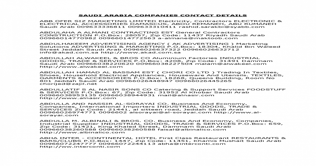 saudi company contacts