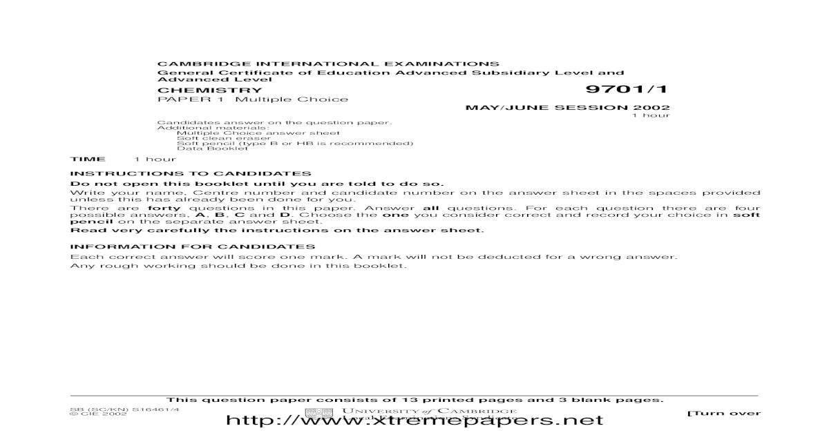 Chemistry Level) (CIE) Paper 1